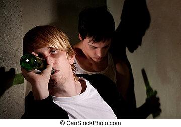 男性, 若い, 酔った