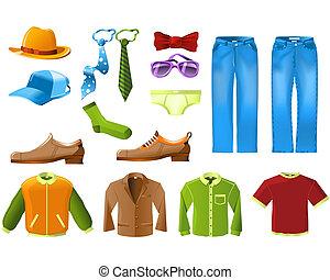 男性, 衣服, アイコン, セット