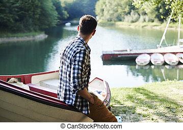 男性, 見る, 釣り, 光景, 旅行, 前に