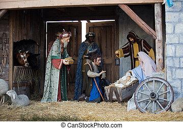 男性, 赤ん坊, nativity, 賢い, イエス・キリスト, 提出すること, mary, クリスマス, ヨセフ, 3, 現場, &, 贈り物