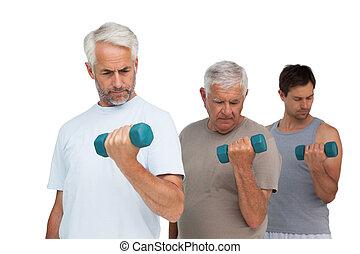 男性, 運動, 横列, 3, ダンベル