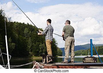男性, 釣り, 後部光景