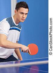 男性, 離れて, テニス, 若い, tennis., 見る, 確信した, 保有物, ラケット, テーブル, 遊び