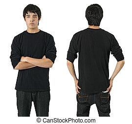 男性, 黑色的襯衫, 空白