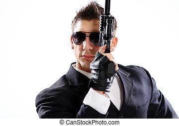 男性, 黒い銃, 保有物, スーツ