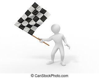 男性, checkered の 旗