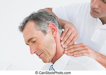 男性, chiropractor, 按摩, 病人, 脖子