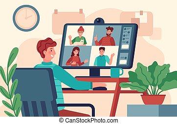 男性, conference., 手掛かり, ミーティング, オンラインで, モニター, 仕事, テレコンファレンス, ...