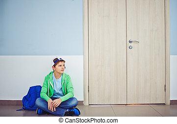 男生徒, 中に, 廊下