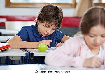 男生徒, 図画, 中に, 教室