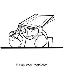 男生徒, 教科書, 机