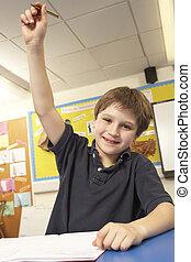 男生徒, 答えている質問, 中に, 教室