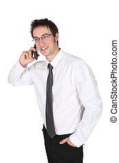 男話し, 上に, 携帯電話