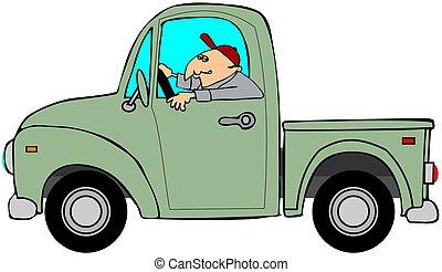 男運転, ∥, 古い, 緑, トラック