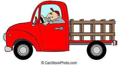 男運転, a, 赤, stake-side, トラック