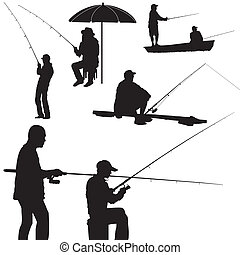 男釣り, ベクトル, シルエット