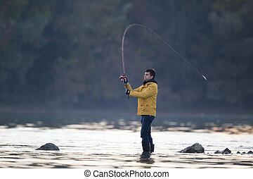 男釣り, 上に, 川