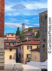 町, イタリア語, cityscape., montekatini, alto.