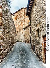 町, イタリア, 中世, 景色, 通り, umbria, assisi