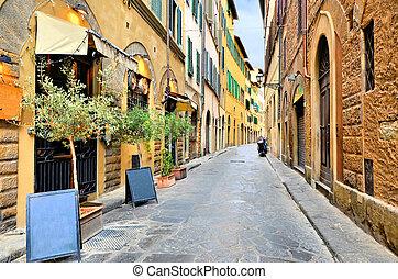 町, イタリア, 古風で趣がある, トスカーナ, 歴史的, 通り, フィレンツェ, 古い