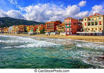 町, イタリア, touristic, alassio, riviera, イタリア語