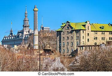 町, カナダ, 建物, 古い 都市, ケベック