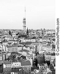 町, テレビ, zizkov, チェコ, イメージ, プラハ, republic., 黒, タワー, 部分, 白