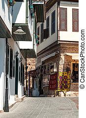 町, トルコ, 古い, 通り, antalya, 光景