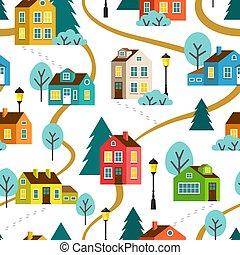 町, パターン, ベクトル, seamless, 風景