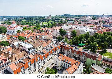 町, パノラマである, 古い, vilnius, 光景