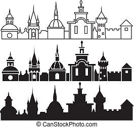 町, パノラマ, 中世