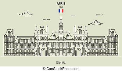 町, パリ, ホール, アイコン, ランドマーク, france.