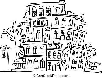 町, ベクトル, grayscale, 漫画