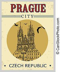 町, ポスター, プラハ, 広場, 古い