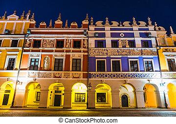町, ヨーロッパ, 偉人, 広場, 中央である, ルネッサンス, 市場, 例, night., zamosc