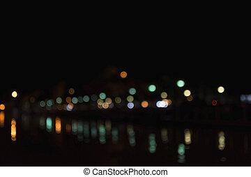 町, ライト, bokeh, 背景