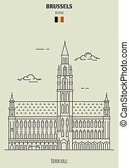 町, ランドマーク, belgium., ブリュッセル, ホール, アイコン