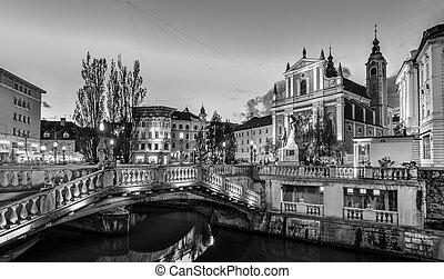 町, 中世, スロベニア, ljubljana, europe., ロマンチック