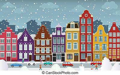 町, 冬, オランダ語