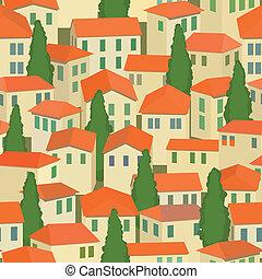 町, 古い木, seamless, 屋根, 赤