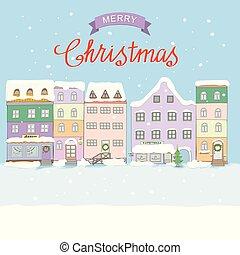 町, 古い, クリスマス