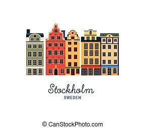 町, 古い, -, ストックホルム, スウェーデン, stan, gamla
