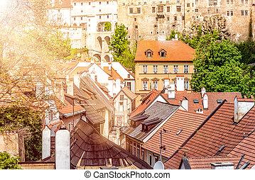 町, 古い, チェコ, 外套, krumlov, 部分, 共和国, cesky, complex., krumlov, 城, 橋, 光景