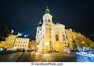 町, 古い, チェコ, st. 。, プラハ, republic., 教会, 広場, ニコラス, 夜