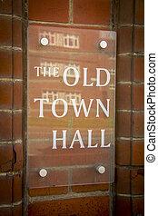 町, 古い, ホール, 印
