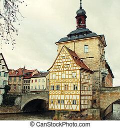 町, 古い, ホール, bamberg(germany)