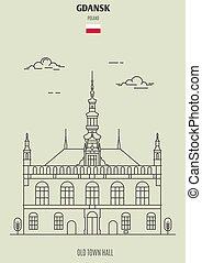 町, 古い, ランドマーク, ホール, アイコン, gdansk, poland.