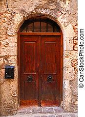 町, 古い, 外気に当って変化した, 島, crete, ドア, chania