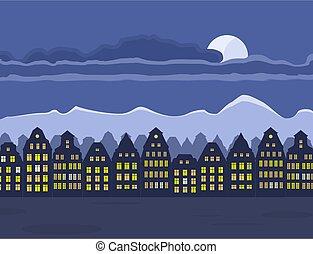 町, 古い, 夜