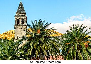 町, 古い, 時計, perast, montene, 教会, タワー